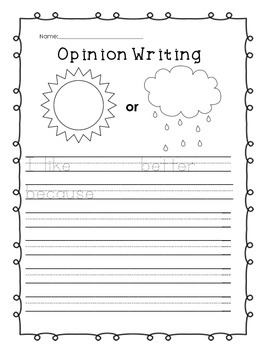 Opinion Writing Pack {A CCSS Activity Pack for Early Writers!}