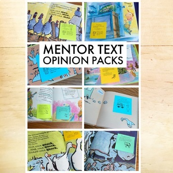 Opinion Writing Pack - Mentor Text, Sticky Notes & More!