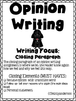 Opinion Writing Packet- Focus: Closing Paragraph