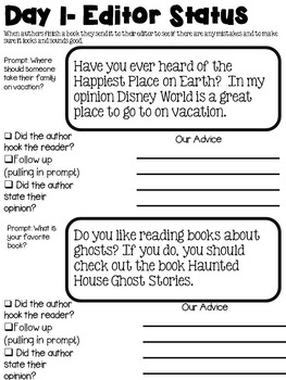Opinion Writing Packet: Openings