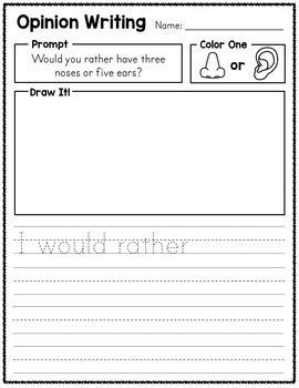 Opinion Writing Prompts - With Editable Option