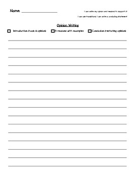Opinion Writing Paper with Checklist