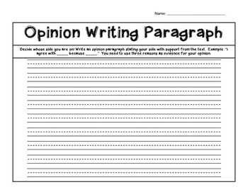 Opinion Writing Paragraph