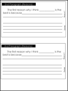 Opinion Writing Paragraph Frames