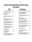 Opinion Writing - Peer Editing Checklist