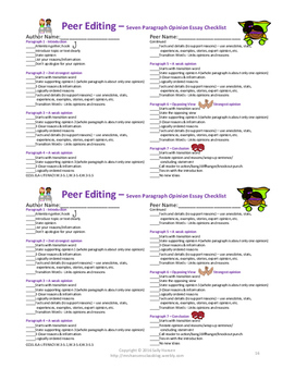 Opinion Writing Peer Editing Checklist CCSS Aligned for Grades 3rd - 5th
