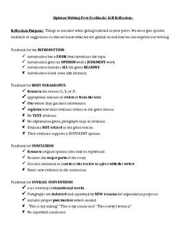 Opinion Writing Peer Feedback/ Self Reflection Checklist