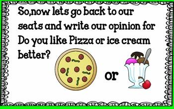 Opinion Writing- Pizza or Ice Cream Smart Board Lesson