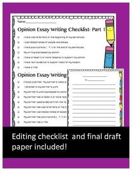 Opinion Writing- Plan, Write, Edit, Rewrite
