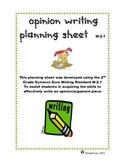 Opinion Writing Planning Sheet Common Core W.2.1