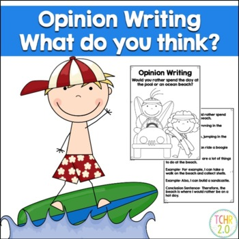 Opinion Writing Prompt Pool or Beach Day Summer