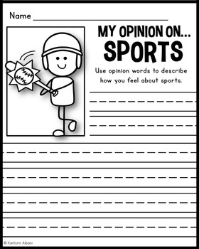 Opinion Writing Practice Pages