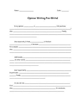 Opinion Writing Pre-Write Scaffold