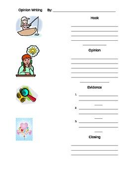 Opinion Writing Prewriting sheet