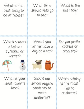 Opinion Writing Prompt Cards
