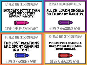 Opinion Writing Prompt Task Cards