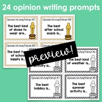 Opinion Writing Prompt Task Cards/Posters