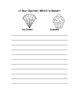 Opinion Writing Prompt- cupcake or ice cream