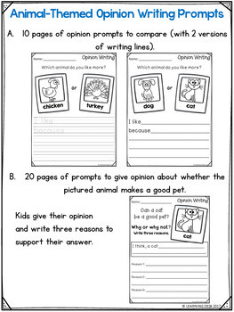 First Grade Opinion Writing Prompts