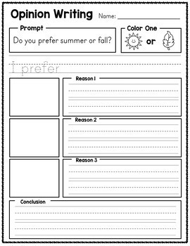 Opinion Writing Prompts Sample - Free