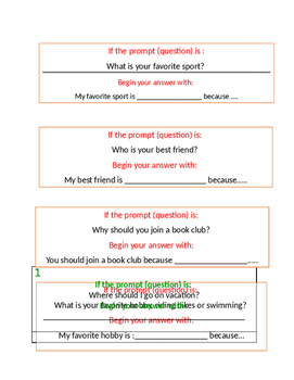 Opinion Writing Question Stems