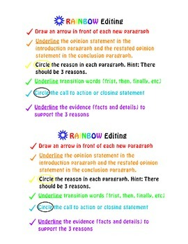 Opinion Writing- RAINBOW Edit Student Sheet