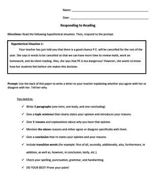 Opinion Writing- Responding to Reading