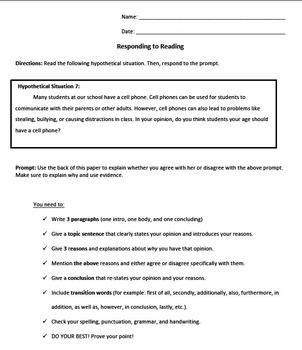 Opinion Writing- Responding to Reading