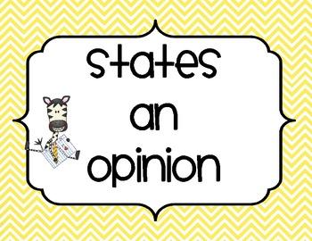 Opinion Writing Review Ladder - Zebra Theme