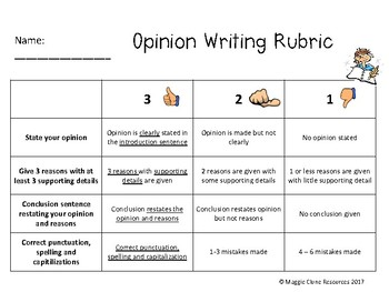 Opinion Writing Rubric - 2 Levels for Differentiation