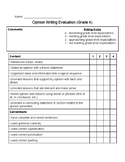 Opinion Writing Rubric (5 Paragraph Essay)