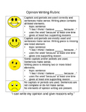 Opinion Writing Rubric Grade 1