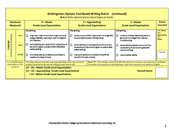 Opinion Writing Rubric and Look Fors For Kindergarten