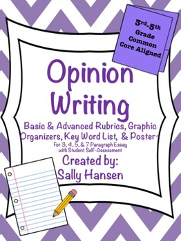 Opinion Writing Rubrics & Graphic Organizers CCSS Aligned for Grades 3rd - 5th