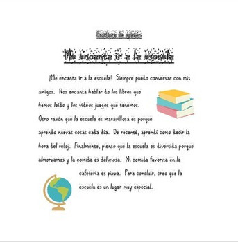 Opinion Writing, SPANISH examples for students