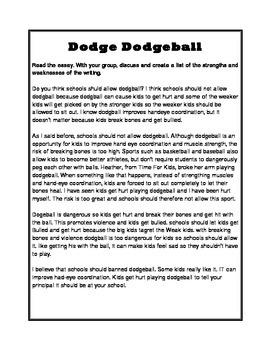 "Opinion Writing Sample- ""Dodge Dogdeball"""