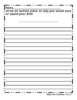 Opinion Writing: Save or Spend $100 (100th Day of School)