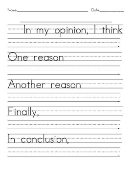 Opinion Writing Tools - Sentence Frames - Writing Paper - Graphic Organizer