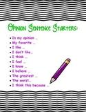 Opinion Writing Sentence Starter Anchor Chart