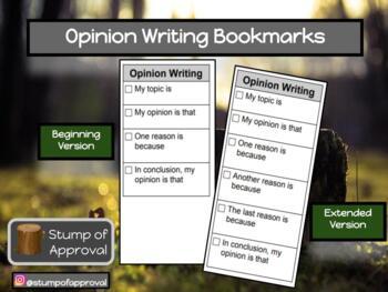 Opinion Writing - Sentence Starter Bookmark