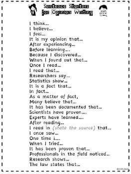 Opinion Writing Sentence Starters