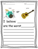 Opinion Writing Sentence Starters Set 2