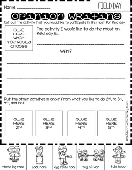 Opinion Writing Sequencing Freebie