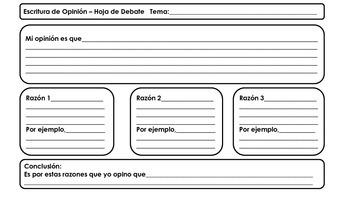 Opinion Writing Spanish Resource Packet