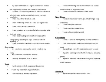 Opinion Writing Student Checklist