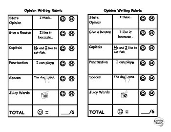Opinion Writing Student Friendly Rubric- 6 Points