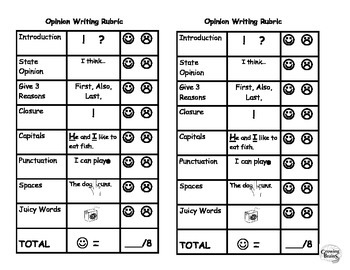 Opinion Writing Student Friendly Rubric- 8 Points