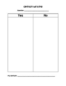 Opinion Writing T-Chart