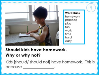 Picture Writing  Task Cards: Back to School, Opinion