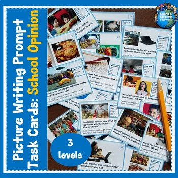 Picture Writing Task Cards Back to School Opinion